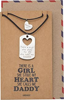 Quan Jewelry Father and Daughter Personalized Heart Pendant and Dog Tag Necklace with Greeting Card, Daddy's Girl Necklace...