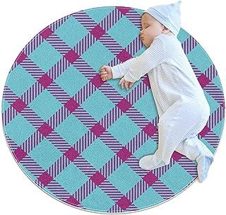 Rosa blått rutnät, barn rund matta polyester överkast matta mjuk pedagogisk tvättbar matta barnkammare tipi tält lekmatta