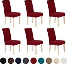 Deconovo Universal Soft Stretch Water Resistant Chair Slipcovers Set of 6 Chair Covers for Wedding Party Red