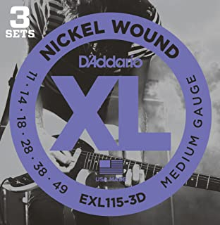 D'Addario XL Nickel Wound Electric Guitar Strings, Medium Blues Jazz Rock Gauge – Round Wound with Nickel-Plated Steel for Long Lasting Distinctive Bright Tone and Excellent Intonation – 11-49, 3 Sets