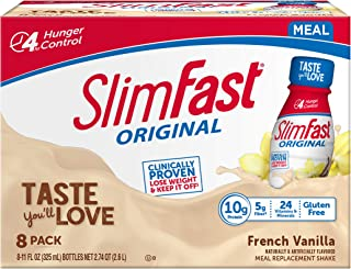 SlimFast Original French Vanilla Shake – Ready To Drink Weight Loss Meal Replacement – 10g Protein – 11 Fl. Oz Bottle – 8 ...
