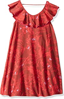 Girls' Printed with Ruffle Trim Dress