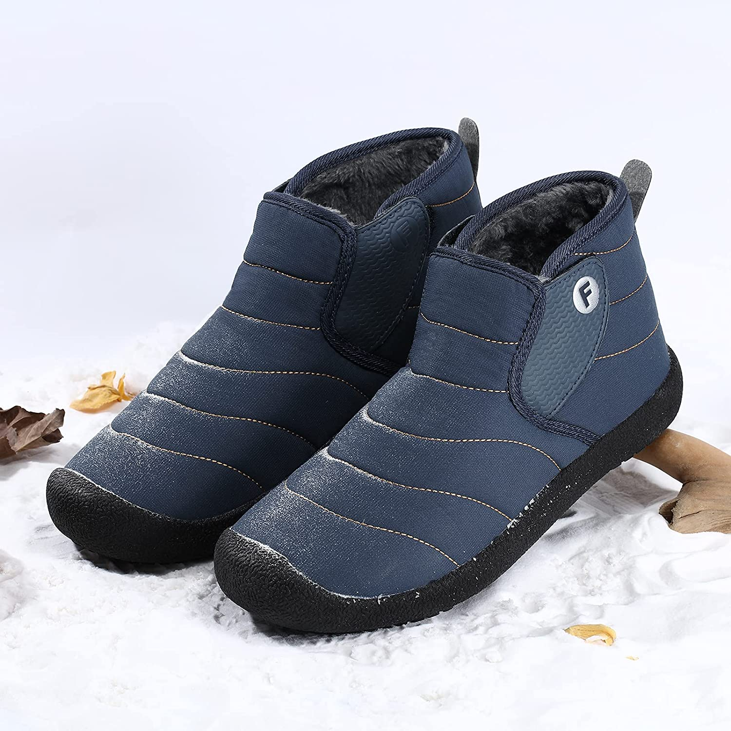 Womens Winter Snow Boots Fur Lined Warm Ankle Boots Slip On Waterproof Outdoor Booties Comfortable Shoes for Women Dark Blue US Size5