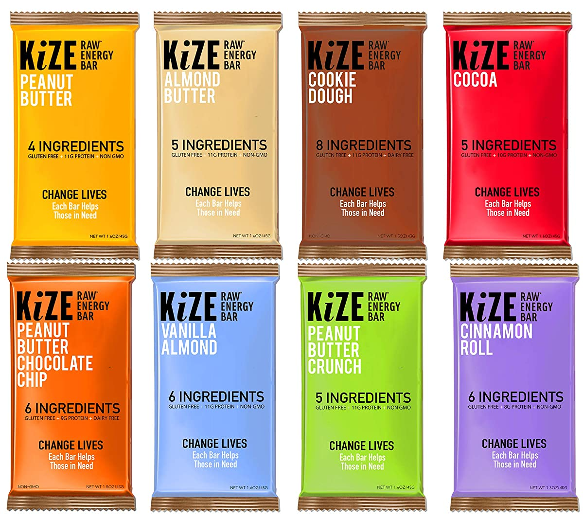 KiZE – (10 Pack) Raw Energy Bars – 7 Flavor Variety Pack – Non GMO, Gluten Free, No Added Sugar, Bulletproof