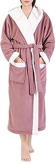 Genuwin Albornoz Microfibra Polyester - Bata Suave de Forro Polar - Bata de Baño con Bolsillos Laterales y Cinturón - Ropa de Dormir para Mujer - Oeko Tex 100