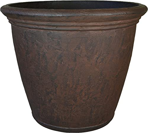 discount Sunnydaze Anjelica Flower Pot Planter, Outdoor/Indoor Unbreakable Double-Walled lowest Polyresin with UV-Resistant high quality Rust Finish, Single, 16-inch Diameter outlet sale