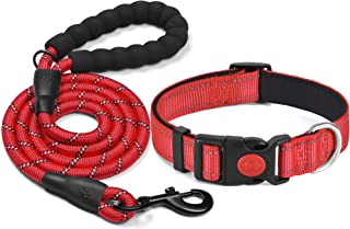 haapaw Reflective Dog Collar Padded with Soft Neoprene Breathable Adjustable Nylon Dog Collars for Small Medium Large Dogs