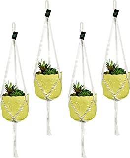 Macrame Plant Hangers Hanging Planter - 4 Pack Indoor or Outdoor Cotton Rope Hanging Plant Holder for Flower Pots - Modern Boho Home Decor, 3 Legs 42 Inch