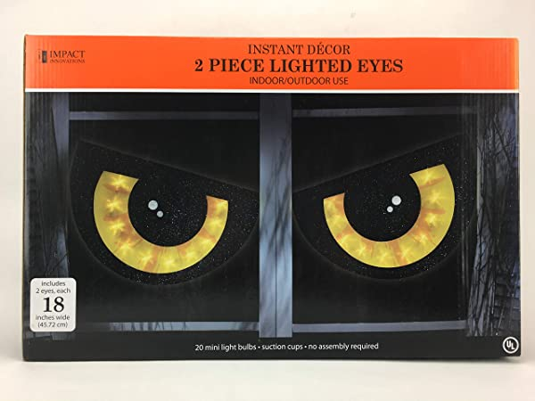 LIGHTED 2 PIECE EYE SET HALLOWEEN DECORATION YELLOW EYES WINDOW LIGHTS INDOOR OUTDOOR HANGING WITH SUCTION CUPS