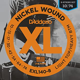 D'Addario XL Nickel Wound Electric Guitar Strings, Light Top/Heavy Bottom, 8 String Gauge – Round Wound with Nickel-Plated Steel for Long Lasting Distinctive Bright Tone and Excellent Intonation – 10-74, 1 Set