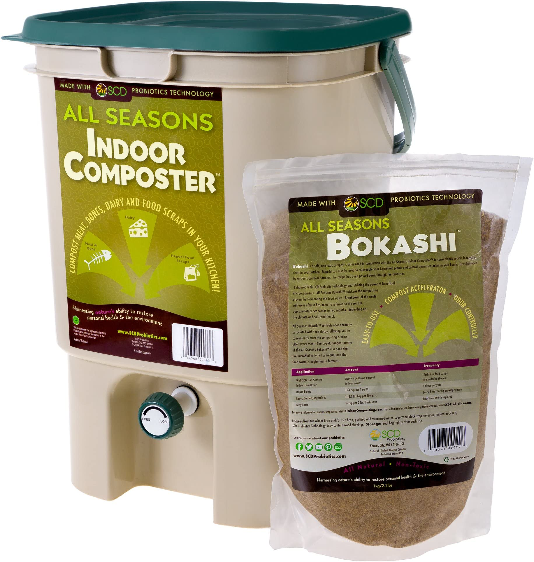 SCD Probiotics All Seasons Indoor Composter, Countertop Kitchen Compost Bin with Bokashi - Easily Compost in Your Kitchen After Every Meal, Low Odor - 5 gal