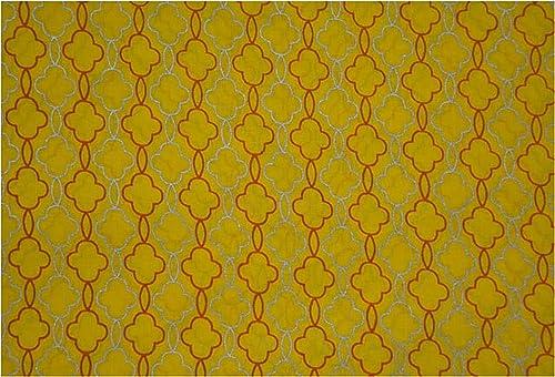 Lemon Zest Chain Printed Soft Mulmul Cotton Fabric Dress Materials Light Yellow Hand Print malmal Cotton Voile Fabric Quilt Yellow Cotton