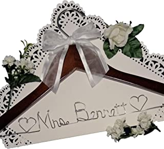 Bride Dress Hanger - Personalized - Silver Wire Craft Name - Dark Wood Hanger