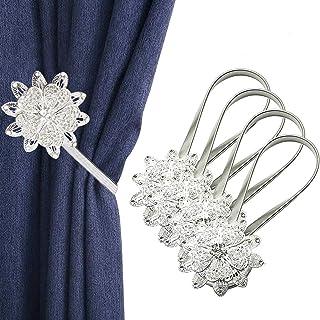 IAGORYUE Embrasse à Rideaux Aimanté - Embrase Rideau Fleur en Cristal - Attache Rideau avec Printemps Corde - Pince pour R...