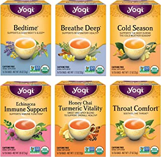 Yogi Tea - Get Well Variety Pack Sampler (6 Pack) - 6 Herbal Teas for Cold and Flu Symptom Support - 96 Tea Bags