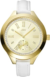 JBW Luxury Women's Aria 8 Diamonds Sub Second White Leather Watch