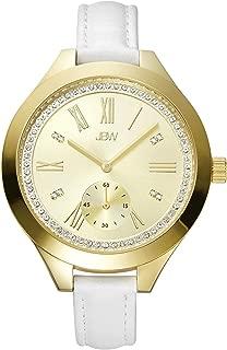 JBW Luxury Women's Aria 8 Diamonds Sub Second White Leather Watch