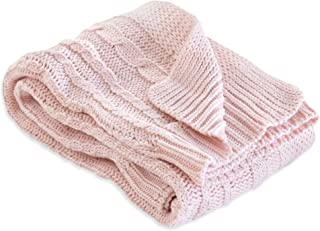 Burt's Bees Baby - Cable Knit Blanket, Baby Nursery & Stroller Blanket, 100% Organic Cotton, 30 x 40 (Blossom Pink)