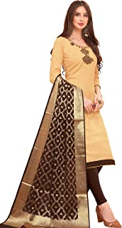 Leeza Store Women's Cotton Unstitched Salwar Suit With Embroidery Work