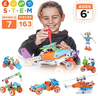 Toy Pal STEM Toys for 6-8 Year Old Boys | 7 in 1 Engineering Building Set | 163 Pc Educational Construction Kit for Kids Ages 6-12 | Fun Birthday Gift