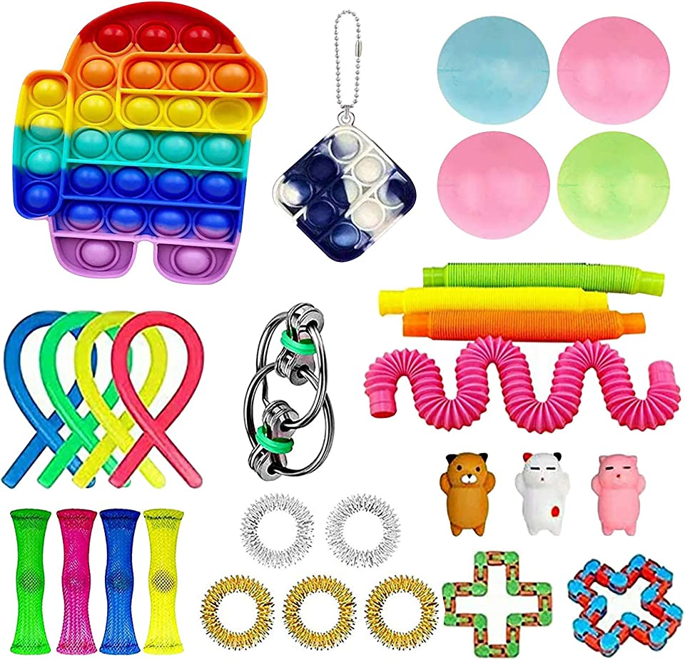 Fidget Toys Pack, Sensory Fidget Toys Cheap, Fidget Toy Set Figetgets-Toys Pack Fidget Box, Fidget Pack with Simples-Dimples in It, Gifts for Kids&Adults with Autism