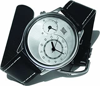 Don Simmons Dual Time NDT029 Unisex Dual Time Genuine Leather Strap Watch.