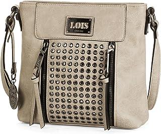 Lois - Bolso pequeño de Mujer Tipo Bandolera de Cuero PU. cómodo y de Colgante. Decorado con Remaches. Marca de Calidad y ...