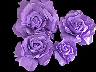 Set of 4 Classic Elegant Giant Foam Flowers(Floating). Real Touch 3D Artificial Roses. Wedding Backdrop, Photo-Booth, Backdrop, Nursery, Wall, Archway, Home Decoration Centerpiece (Lavender)