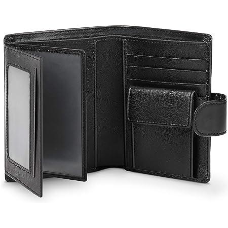 Portefeuille Homme Cuir Spacieux Wilbest® Porte Monnaie Homme en Format Portrait avec Blocage RFID, 13 Emplacements pour Cartes, 3 Fenêtres Transparentes, 2 Compartiments à Billets, Pièce de Monnaie
