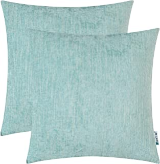 HWY 50 Cotton Linen Soft Comfortable Decorative Throw Pillows Covers Set Cushion Cases for Couch Sofa 18 x 18 Inches Pack of 2