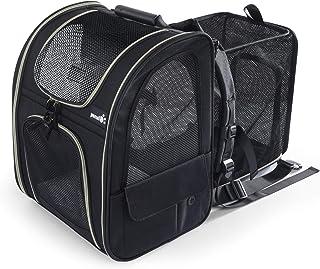 Pecute ペット キャリーバッグ 犬 猫 ウサギ リュック 拡張可能 2WAY バッグ ペットハウス ドライブ 旅行 通院 災害避難用ペットバッグ 黒
