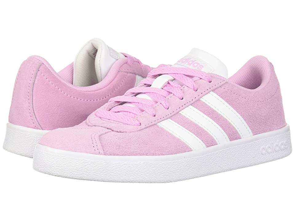 adidas Kids VL Court 2 (Little Kid/Big Kid) (Frost Pink/White/White) Kids Shoes