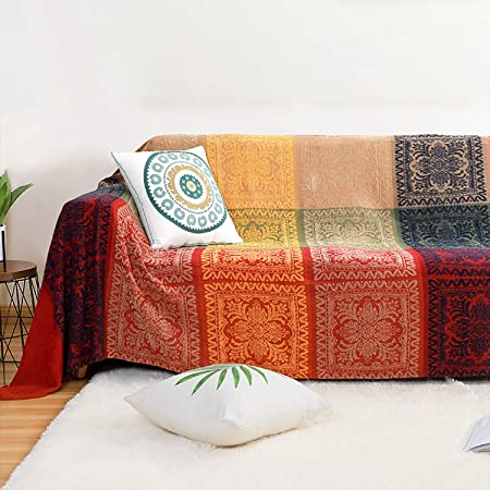 MayNest Bohemian Tribal Throws Blankets Reversible Colorful Red Blue Boho Hippie Chenille Jacquard Fabric Throw Covers Large Couch Furniture Sofa Chair Loveseat Recliner Oversized (Red, L:102x87)