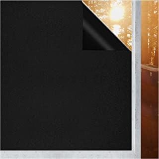 Coavas Window Blackout Film - Non Adhesive Static Cling Tint Darkening Frosted Black Window Sticker Insulation 100% Light ...