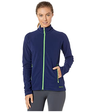 Marmot Rocklin Full Zip Jacket (Arctic Navy/Vibrant Green) Women