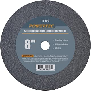 "POWERTEC 15502 5/8"" Arbor 36-Grit Silicon Carbide Grinding Wheel, 8"" x 1"""
