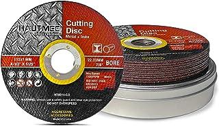 HAUTMEC Metal Cutting Discs 115mm x 1.0mm x 22.23mm 10pcs, Cut Metal, Stainless Steel, Steel and Non-Ferrous Metals, Cut-O...