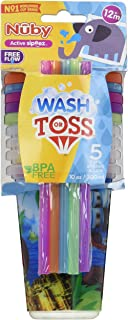 Nuby 5 Piece Printed Straw Cup Free Flow Wash or Toss Cups, Assorted
