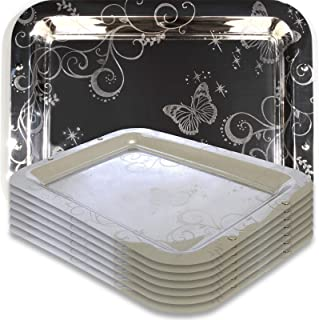 Maro Megastore (Pack of 8 14.2-Inch x 10.2-Inch Rectangular Oblong Chrome Mirror Serving Tray Butterfly Engraved Decorative Wedding Birthday Buffet Party Dessert Art Decor Party Wine 2650 S Ts-033