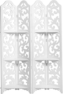MyGift White Wood Floral Cut-Out Design 4-Panel Room Divider with 3 Removable Shelves