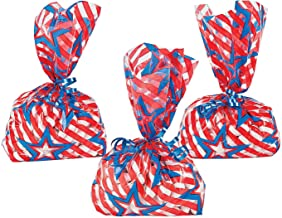 Fun Express - Patriotic Cello Bags (12pc) for Fourth of July - Party Supplies - Bags - Cellophane Bags - Fourth of July - 12 Pieces