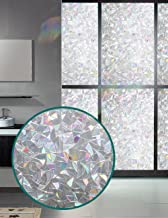 Window Film 3D Decorative Privacy - Static Cling Glass Window Sticker Non-Adhesive No Glue Heat Control Anti UV Light Blocking for Home Kitchen Bathroom Office Meeting Room Living Room(17.7