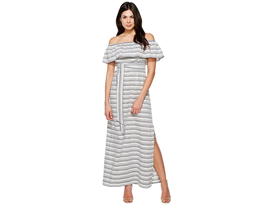 Vince Camuto Cotton Off the Shoulder Maxi (Navy/Ivory) Women