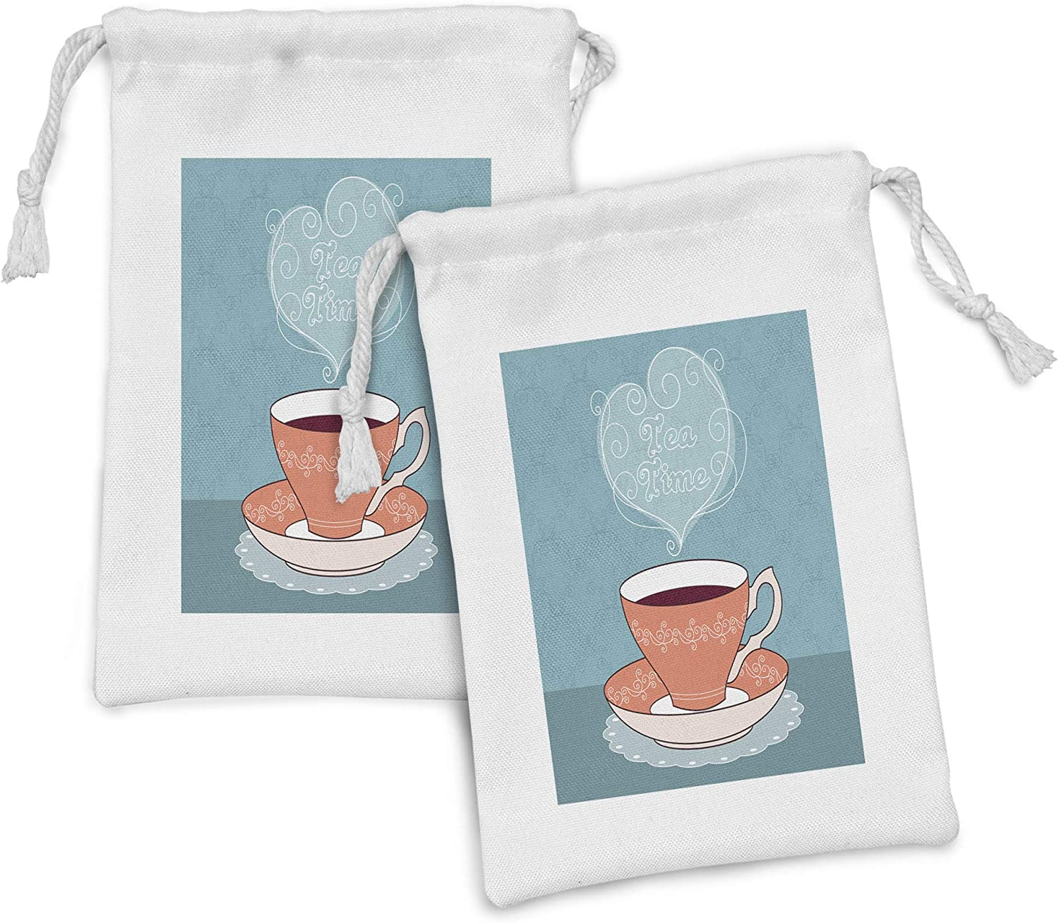Ambesonne Tea Fabric Animer and price revision Ranking TOP2 Pouch Set of with 2 Teatime Calligraphy a