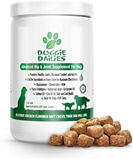 Doggie Dailies Glucosamine for Dogs, 225 Soft Chews, Advanced Hip and Joint Supplement..