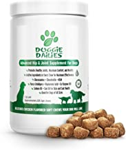 Doggie Dailies Glucosamine for Dogs, 225 Soft Chews, Advanced Hip and Joint Supplement for Dogs with Glucosamine, Chondroitin, MSM, Hyaluronic Acid and CoQ10, Premium Joint Relief for Dogs