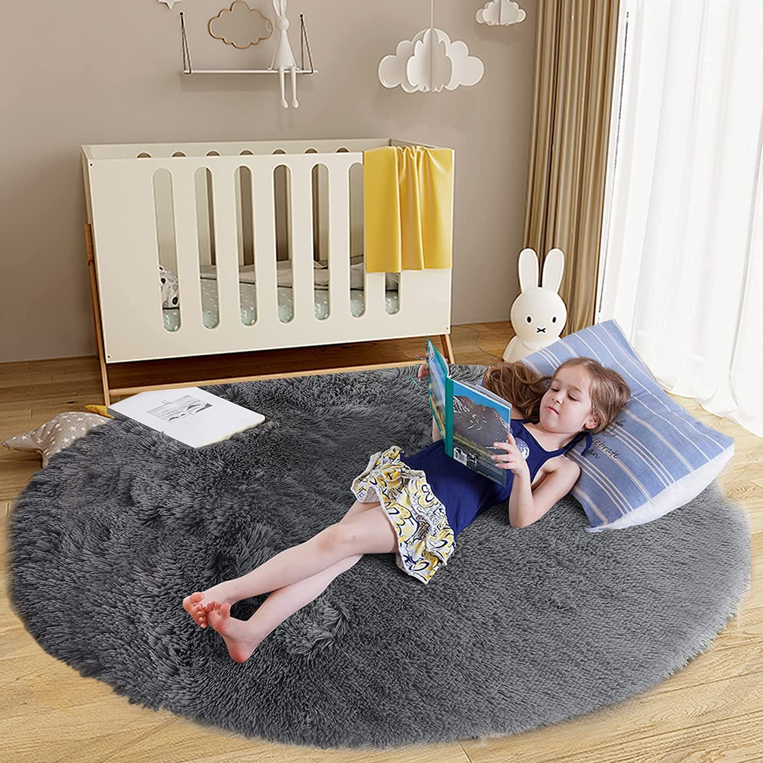 Gliwen Super Soft Round Rug NEW before selling Bedroom New products world's highest quality popular a for Fluffy Kids
