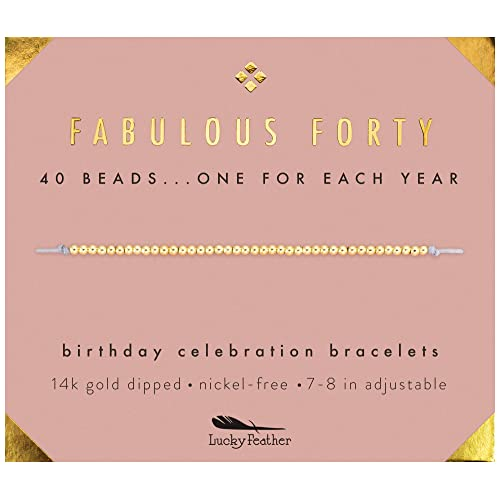 Lucky Feather 40th Birthday Gifts For Women 14K Gold Dipped Beads Bracelet On Adjustable 7