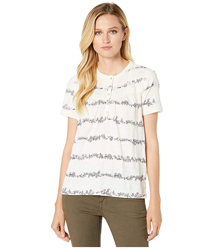 Lucky Brand  Trim Pullover Top (Natural Multi) Womens Clothing