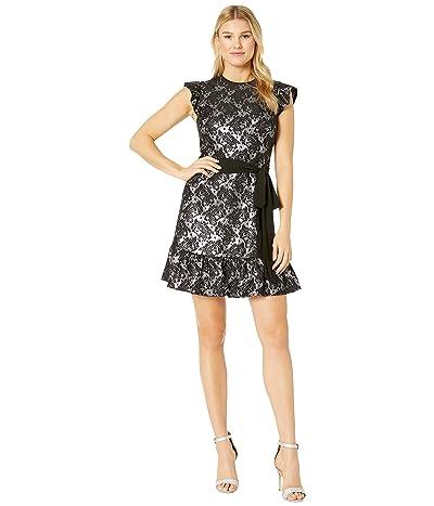 MICHAEL Michael Kors Flutter Sleeve Foil Dress (Black/Silver) Women